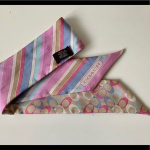 COACH Hair Band Neck Scarf 100% Silk Purse Wrap